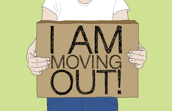 "An animated figure in a white t-shirt holds a cardboard box that reads ""I am moving out!"""