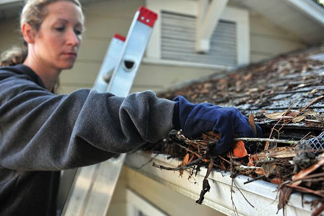 A woman in a sweatshirt and work gloves stands on a ladder and scoops handfuls of leaves and debris out of the gutters of her house.