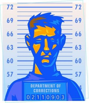 An animated man with short hair shadowed in blue poses for his mug shot while holding a Department of Corrections placard.