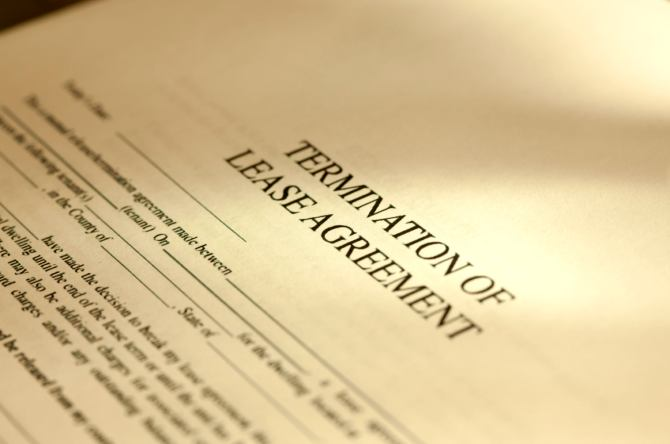 A legal document describes the terms for the termination of a lease.