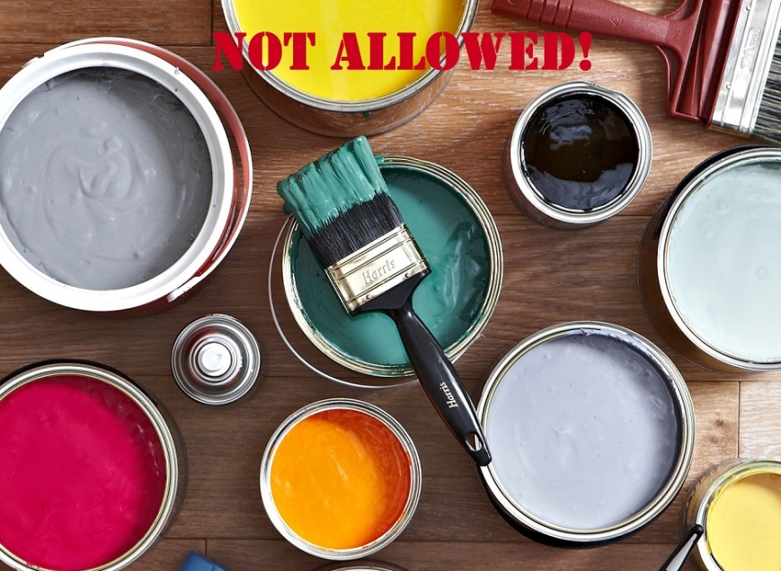 "Several cans of vibrantly colored paint sit open next to a few paint brushes with the heading ""Not allowed!"" in red across the top."