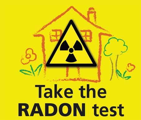 A bright yellow hazard sign over a hand-drawn house warns about radon testing.
