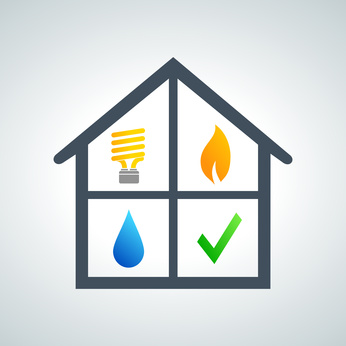 A house icon contains four symbols including a light bulb, a flame, a drop of water, and a green check mark.