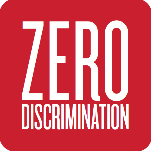 "The words ""Zero discrimination"" are embedded in white in vibrant red square with rounded edges."